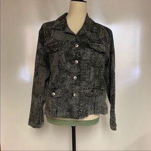 Chico's Gray Pattered Denim Jacket, Large